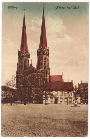 000902 - Heuvel met lindeboom, kerk van St. Jozef, pastorie en lantaarn opgericht in 1902 ter herinnering aan burgemeester Jansen.