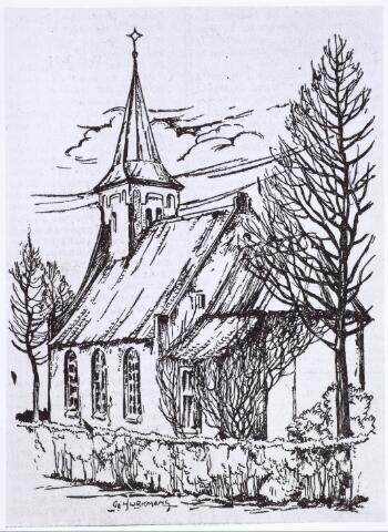 020284 - Tekening. Hasseltse kapel getekend door Gé Hurkmans omstreeks 1950