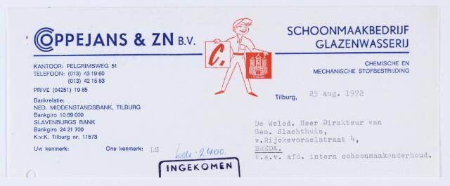 059870 - Briefhoofd. Nota van Coppejans & Zn. B.V., schoonmaakbedrijf, Glazenwasserij, Pelgrimweg 51 voor Gemeentelijk Slachthuis, van Rijckevorselstraat 4 te Breda