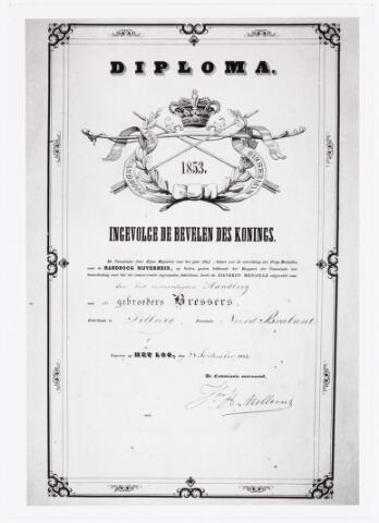039548 - M.C.N. Bressers Kaarsenfabriek. Provinciale Tentoonstelling Handboog-Nijverheid geeft diploma met zilveren medaille voor best vervaardigde handboog door gebrs. Bressers te Tilburg (1853).