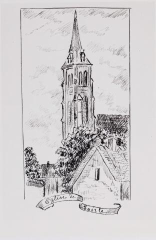046330 - Tekening. De toren van de St. Jan Onthoofding naar een tekening van De Meester de Betzenbroek.