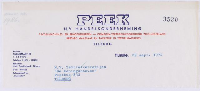 "060887 - Briefhoofd. Nota van Peek N.V. Handelsonderneming, Tivolistraat 20 voor N.V. Textielververijen ""De Koningshoeven"",  Tilburg"