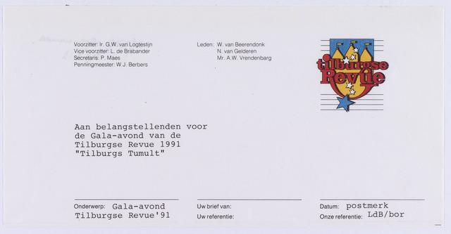 061518 - Briefhoofd. Verenigingen. Briefhoofd van Tilburgse Revue