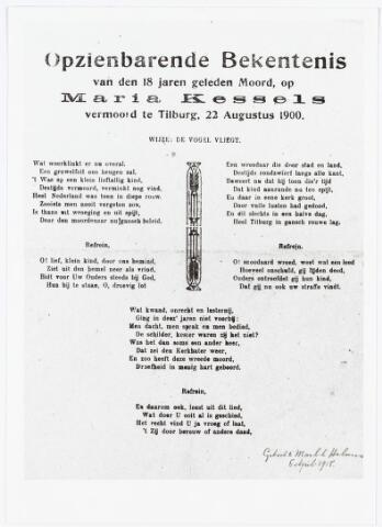 007170 - Pamflet. Lied gemaakt naar aanleiding van een bericht in de Nieuwe Tilburgsche Courant dat een gepensioneerde Oost-Indie militair zich zou hebben gemeld als zijnde de moordenaar van Marietje Kessels. Later bleek het om een vals bericht te gaan.