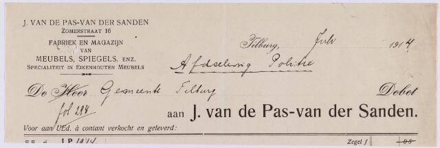 060882 - Briefhoofd. Nota van J. van de Pas - van der Sanden, fabriek en magazijn van meubels, spiegels enz., Zomerstraat 16 voor de gemeente Tilburg
