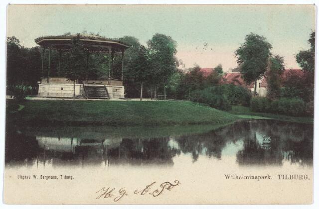 002906 - Vijver en muziekkiosk in het Wilhelminapark.