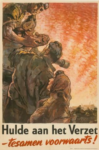 1726_083 - Affiche Tweede Wereldoorlog.   Hulde aan het Verzet, tezamen voorwaarts, uitgegeven door de Engelse en Amerikaanse voorlichtingsdiensten.   Ontwerper Jaap Habold, Afmeting: 50x75 cm, Drukker onbekend.  WOII. WO2.