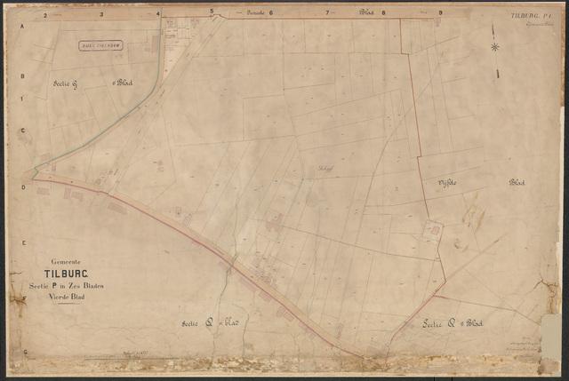652629 - Kadasterkaart Tilburg, Sectie P, blad 4. Schaal 1:1000. 1906?