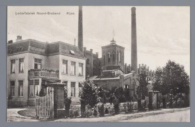 057847 - Rijen. Julianastraat omstreeks 1929. N.V. Lederfabriek Noord-Brabant opgericht in 1911. Verwoest 3 september 1944. Links de directeurswoning ook gebouwd in 1911 (directeur L.J. Uijtendael).