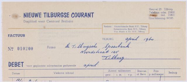 060820 - Briefhoofd. Nota van Nieuwe Tilburgse Courant, Dagblad voor centraal Brabant, Heuvel 25 voor de Tilburgsche Spaarbank, Noordstraat 125