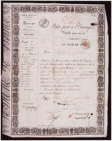 007941 - Foto van dia, Tijdelijk paspoort van Cornelis van Spaendonck afgegeven in Frankrijk in 1838 voor de duur van een jaar.