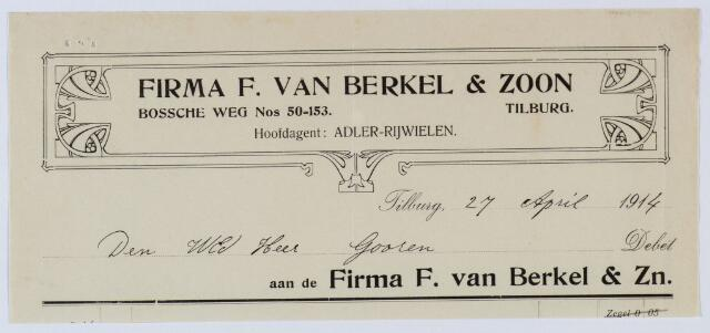 059608 - Briefhoofd. Nota van Firma F van Berkel & Zn. Hoofdagent Adler Rijwielen, Bosscheweg nos. 153-50 voor de heer Gooren
