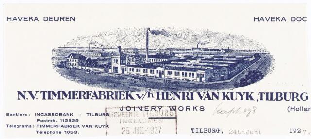 060523 - Briefhoofd. Briefhoofd van N.V. Timmerfabriek v/h Henri van Kuyk, Tilburg