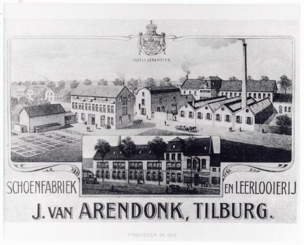 038450 - Litho. Nijverheid. Schoen- en leerindustrie. Fabriekscomplex van Hofleverancier Schoenfabriek en leerlooierij J. van Arendonk,Tilburg