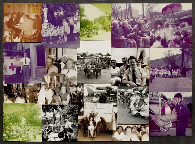 1696152 - Fotocollage Rode Kruis, afdeling Tilburg. De begeleiding en verzorging van verschillende bedevaarten naar Beauraing door colonneleden van de afdeling Tilburg in de jaren 80.
