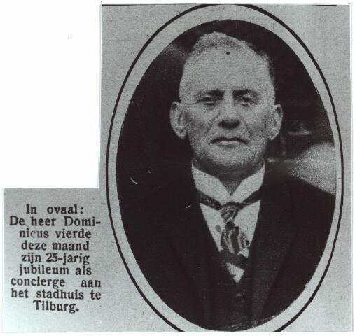 004020 - Augustinus Josephus Joannes Maria (G.) DOMINICUS, geb. 21 aug 1867 te 's-Hertogenbosch, ovl.16 aug. 1929 te Tilburg. Huwelijk op 21 aug 1907 te Tilburg met Maria Adriana van Puijenbroek. Vierde op 1 juli 1927 zijn 25-jarig jubileum als bode op het gemeentehuis. Hij was ook bode bij de Kamer van Koophandel.