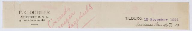 059544 - Briefhoofd. Briefhoofd van F. C. de Beer, Architect B.N.A. , Nieuwlandstraat 10
