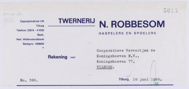 060992 - Briefhoofd. Nota van Twernerij N. Robbesom, haspelerij en spoelerij, Capucijnenstraat 134 voor Coöperatieve Ververijen de Koningshoeven N.V. , Koningshoeven 77