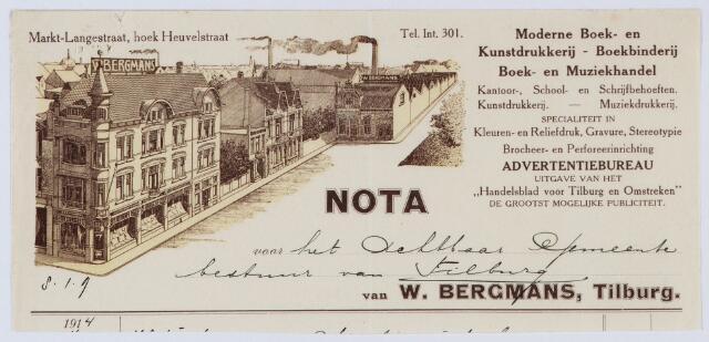 059582 - Briefhoofd. Rekening van Drukkerij W. Bergmans voor de gemeente Tilburg