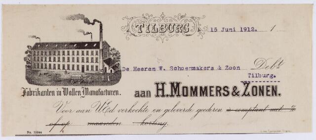 060760 - Briefhoofd. Nota van H. Mommers & Zonen, fabriek van wollen manufacturen, voor W. Schoenmakers & Zoon te Tilburg