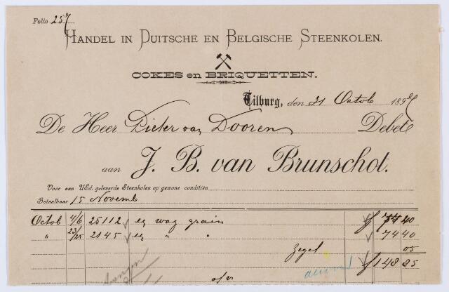 059790 - Briefhoofd. Nota van Handel in Duitsche en Belgische Steenkolen J. B. van Brunschot, voor Pieter van Dooren