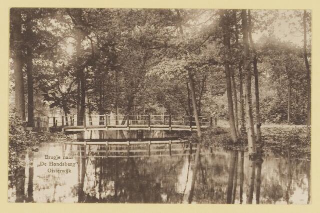 073934 - Hondsberselaan met Huize 'De Hondsberg'  een oude buitenplaats, met waterpartijen, bruggetje, kiosk, pension, restaurant, hotel en opvangtehuis voor slechtziende kinderen o.l.v. dr. Aussems.