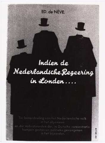 007415 - Willem Lenglet (pseudoniem Ed de Nève) 1889-1961. Omslag van de brochure tegen de Nederlandse regering in Londen, 1947. Hoge heren die hun gezicht verloren hebben.