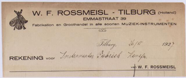 061014 - Briefhoofd. Nota van W.F. Rossmeisl Tilburg, fabrikatie en groothandel in alle soorten muziek-instrumenten, Emmastraat 39 voor Instrumenten fabriek Komefa