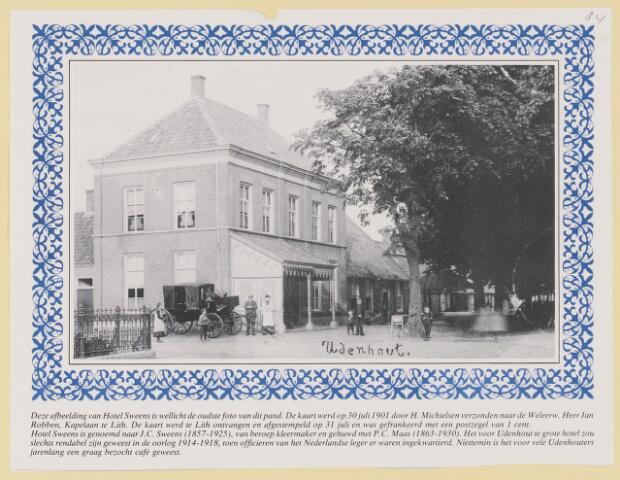 079604 - Een oude ansichtkaart van Hotel Sweens in Udenhout verzonden op 30 juli 1901 Door H. Michielsen aan kapelaan Jan Robben te Lith. Het hotel is genoemd naar J.C. Sweens (1857-1925) kleermaker gehuwd met P.C. Maas (1863-1930). Het was voor veel Udenhouters een graag bezocht café.