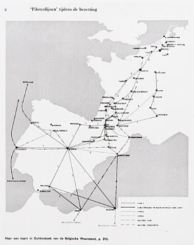 013743 - Tweede Wereldoorlog. Verzet. Piloten. Deze kaart uit een gedenkboek over de Belgische Weerstand, laat zien dat Tilburg een belangrijke schuil- en doorvoerplaats in de pilotenlijn (de zogenaamde escape-line) was. De lijn loopt van Tilburg naar Baarle-Hertog en zo via België, Frankrijk en Spanje naar Portugal