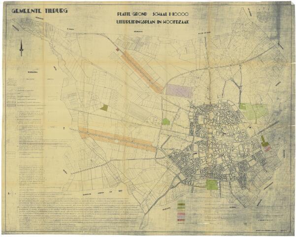 059460 - Kaart. Stadsuitbreiding. Bestemmingsplan in Hoofdzaak, juni 1936, wijziging 1949.