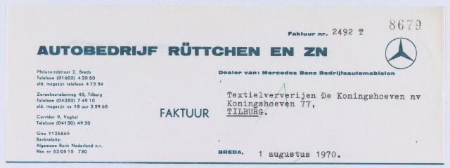 """061015 - Briefhoofd. Nota van Aurobedrijf Rüttchen en Zn, Zevenheuvelenweg 40 voor Textielververijen """"De Koningshoeven"""" NV, Koningshoeven 77"""