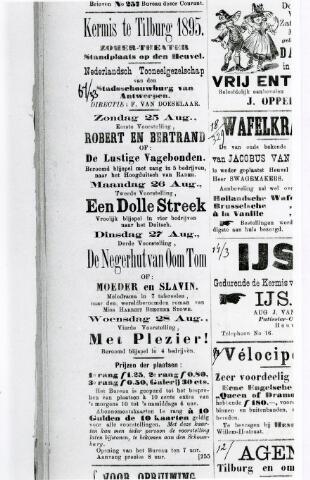 065972 - Kermis. Advertentie van de Kermis te Tilburg. Kermisgangers lieten zich ook vermaken door toonkunsten,  zoals muziek en theater.