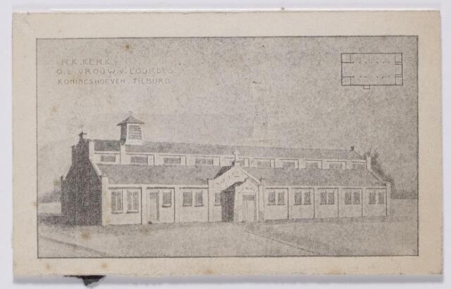 044452 - Tekening. In 1911 werd besloten tot de oprichting van de parochie Koningshoeven, de elfde parochie van Tilburg. P. Pulskens werd benoemd tot bouwpastoor, maar uiteindelijk werd de kerk gevestigd in een voormalig fabriekspand aan de Havendijk. Het duurde tot 1921 voordat deze kerk, toegewijd aan O.L.V. van Lourdes, in gebruik werd genomen. De kerkwijding vond plaats in oktober 1922.