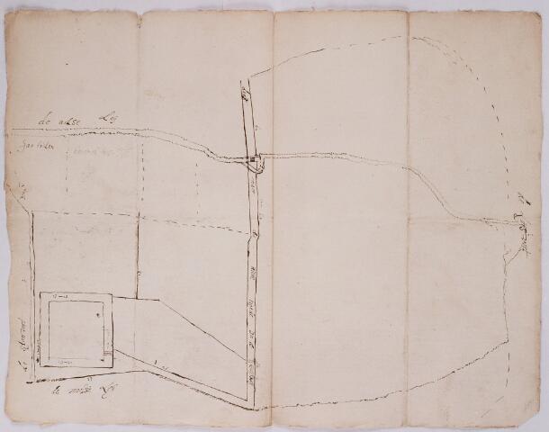 056365 - (Foto van een) kaart. De schans op Steenvoort (Nieuwkerk) onder Goirle met de weg naar de Nieuwe Hoeve. Bovenaan de Luijsvort. 18de eeuw.