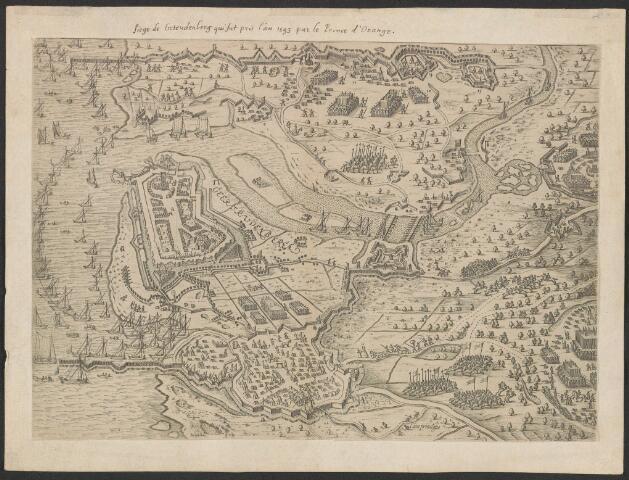 651013 - Belegering van Geertruidenberg in 1593 plattegrond van de vesting met omgeving met strijdende legers, vloot, verdedigingswerken en vluchtende burgers op het land. Alles in vogelperspectief. Geertrudenberga en cijfers 1-14. Ca 1620. Gravure. Uit Nassawischen Lorbern-Cranz, p. 97-98. Muller suppl. 1021, nagenoeg vergroting van inv. nrs. 16 en 17. Aangekocht 1958 bij antiq. Pampiere wereld Den Haag. Is uitgeknipt en opgeplakt achterzijde opgeplakt Latijnse tekst Goricum. 24 x 31,5 cm.