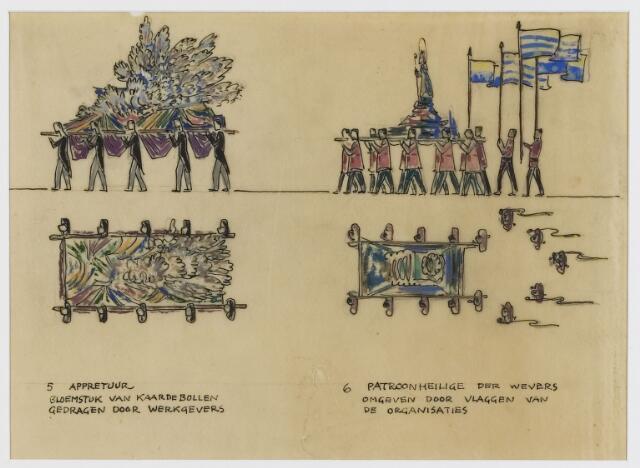 068594 - Processies. Ontwerp-fragment van de H. Harthulde-stoet, door Frans Mandos en Jos Zeegers T.zn.