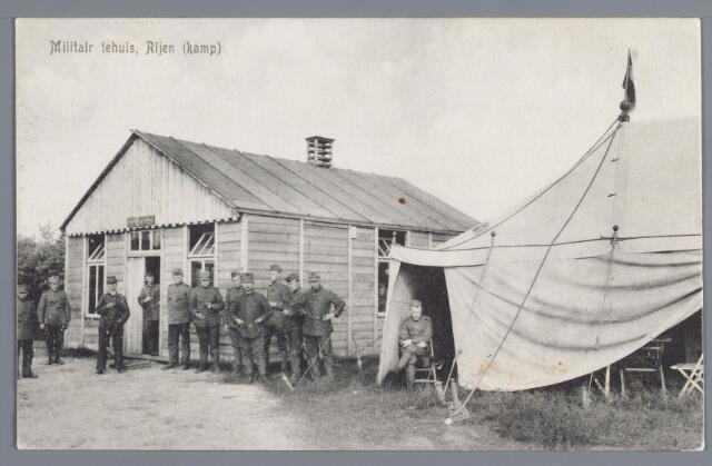 058073 - Rijen, millitair kamp. Een barak deed hier dienst als millitair tehuis. Overigens waren in die jaren ook veel millitairen bij de bevolking ingekwartierd. Opname omstreeks 1916.