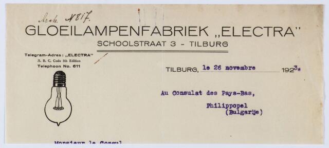"""060027 - Briefhoofd. Nota van Gloeilampenfabriek """"Electra"""", Schoolstraat 3 voor het Nederlandse consulaat in Bulgarijë"""