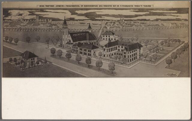 010373 - Tekening. Tekening van architect H.C. Bonsel van de kerk van de H. Magrita Maria, pastorie, scholen en broederhuis aan de Ringbaan-West. De toren van de kerk is nooit gebouwd.