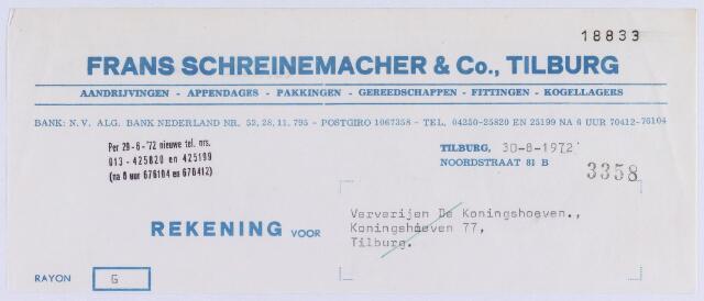 061086 - Briefhoofd. Nota van Frans Schreinemacher & Co, machinebehoeften, Stationstraat 27 voor Coöp. Ververijen, Koningshoeven 275