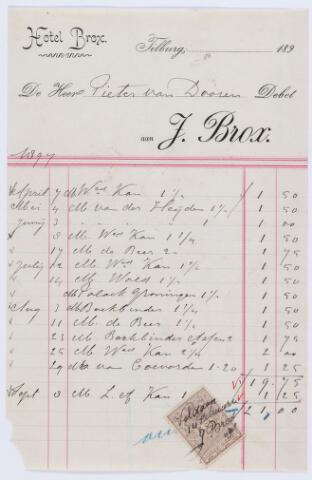 059787 - Briefhoofd. Nota van J. Brox, Hotel Brox, voor Pieter van Dooren