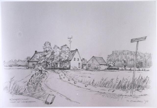 023856 - Tekening. Kommerstraat in Moerenburg, gezien vanuit het westen. Tekening van Henk Corvers.