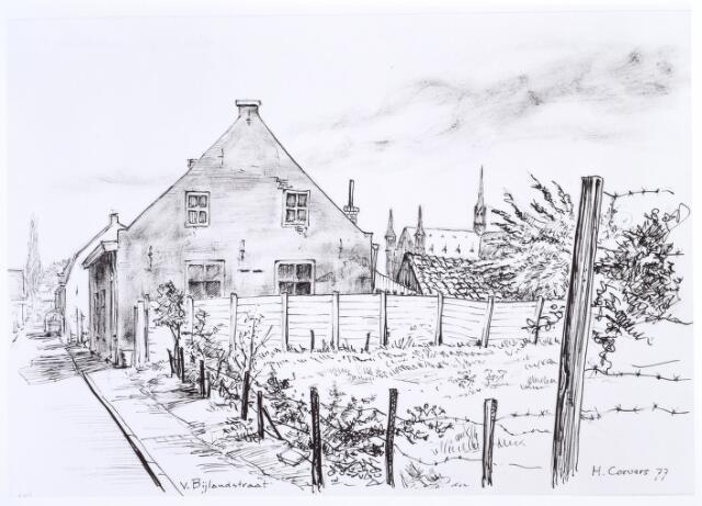 016986 - Tekening. Tekening van H. Corvers uit 1977 van een gedeelte van de Van Bylandtstraat, met rechts op de achtergrond de Hasseltse kerk