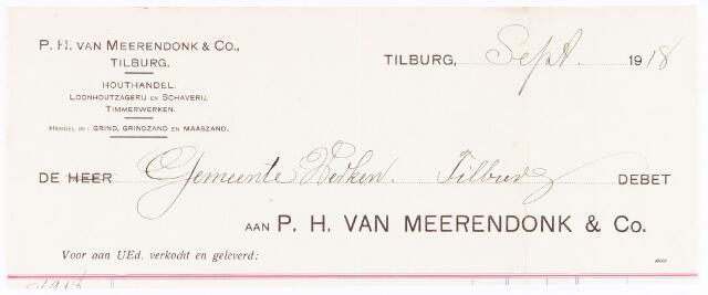 060699 - Briefhoofd. Nota van P.H. van Meerendonk & Co, houthandel, voor de gemeente Tilburg