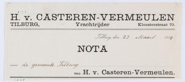 059827 - Briefhoofd. Nota  van H.v. Casteren-Vermeulen, Kloosterstraat 70, vrachtrijder, voor gemeente Tilburg