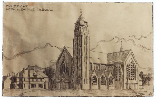 000311 - Tekening. Ontwerptekening architect Jos Donders van kerk en pastorie van de parochie van de H. Familie (Broekhoven II) aan de Broekhovenseweg. De kerk is in 1974 gesloopt.