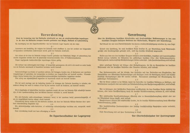 1726_076 - Affiche Tweede Wereldoorlog.   Verordening, over de invoering van het Duitse strafrecht en van de strafrechtelijke bepalingen in de door de Duitse troepen bezette gebieden van België, Holland en Luxemburg. Tevens in Duits.  Afkomstig van de Opperbevelhebber der Legergroep, Afmeting: 60x42 cm, Drukker onbekend, zonder datum.  WOII. WO2.
