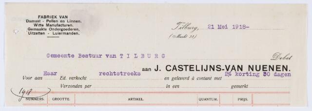 059825 - Briefhoofd. Nota van J. Castelijns-van Nuenen, Markt 28, Atelier Dames- en kindergoederen, voor de gemeente Tilburg