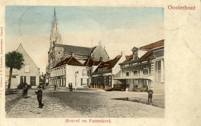"""652724 - Oosterhout.Heuvel en Paterskerk. Op achterzijde:  """"Mejuffrouw Cor van der Linden , huishoudster bij de kinderen v.d. Linden, tegenover de Kerk te Kaatsheuvel."""""""